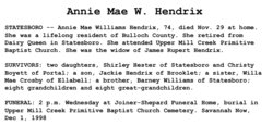 Annie Mae <i>Williams</i> Hendrix