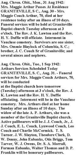 Margaret Maggie <i>Couch</i> Arthur