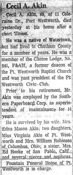 Cecil A Akin