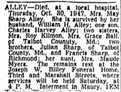 Mary Gwendolyn <i>Sharp</i> Alley
