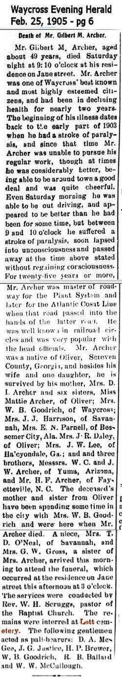 Gilbert M Archer