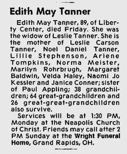Edith Mae <i>Appling</i> Tanner