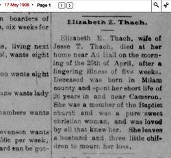 Elizabeth E. Bettie <i>Cosby</i> Thach