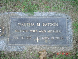 Wretha M <i>Hayes</i> Batson