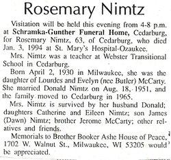 Rosemary E <i>McCarty</i> Nimtz