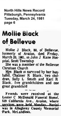 Mollie J <i>McPherson</i> Black