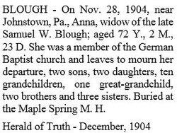 Anna <i>Blough</i> Blough
