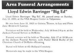 Lloyd Edward Big Ed Barringer