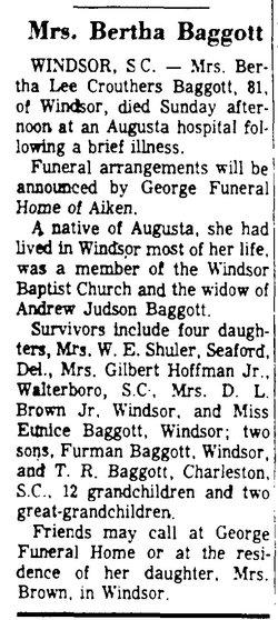 Bertha Lee <i>Carruthers</i> Baggott