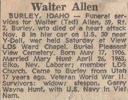 PVT Walter Ernest Ted Allen