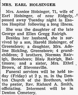 Mary Annice Annie <i>Rairigh</i> Holsinger