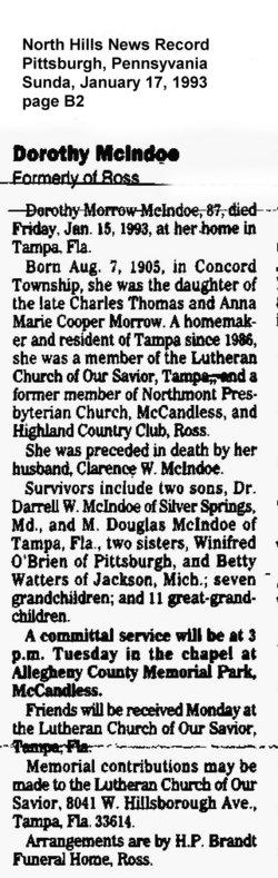 Dorothy Josephine <i>Morrow</i> McIndoe