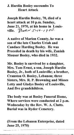 Joseph Hardin Bosley, Sr.
