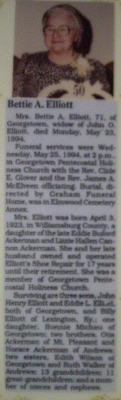 Betty Mae <i>Ackerman</i> Elliott