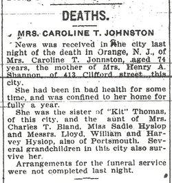 Caroline <i>Thomas</i> Johnston