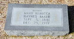 Mary Rebecca <i>Haynes</i> Baker
