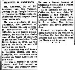 Wendell W Anderson, Sr