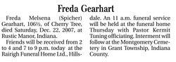 Freda Melsena <i>Spicher</i> Gearhart