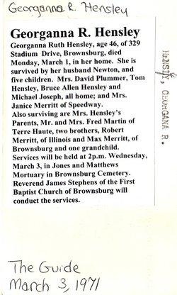 Georgeina R. <i>Martin</i> Hensley