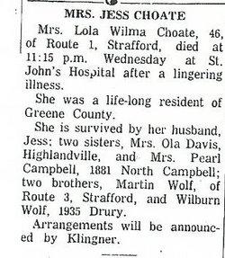 Lola Wilma <i>Wolf</i> Choate