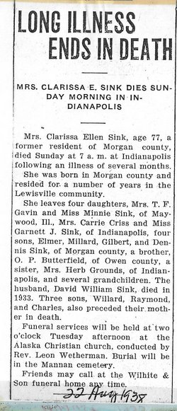 Clarissa Ellen <i>Butterfield</i> Sink