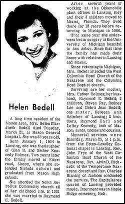 Helen E <i>Holmes</i> Bedell