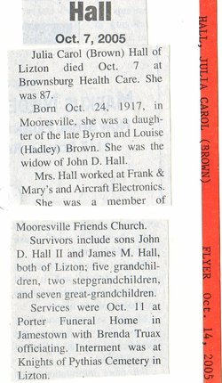 Julia Carol Judy <i>Brown</i> Hall