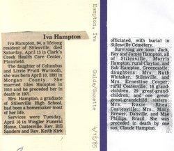 Iva Alice <i>Warmoth</i> Hampton