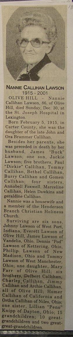 Nannie H <i>Callahan</i> Lawson