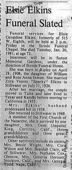 Elsie Geraldine <i>Inman</i> Elkins