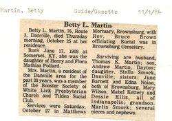 Betty L <i>Pollard</i> Martin