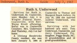 Ruth A <i>Awbrey</i> Underwood