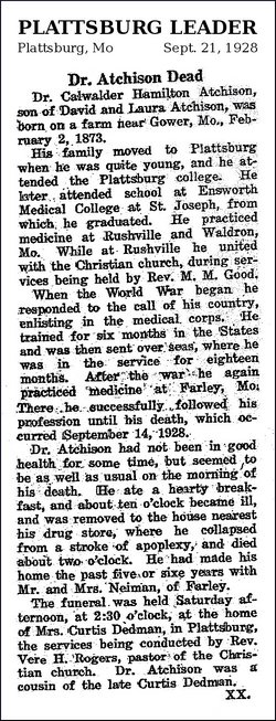 Dr Cadwallader Hamilton Cad Atchison