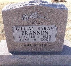 Gillian Sarah <i>Riggs</i> Brannon