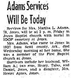 Martha Louise <i>Finley</i> Adams