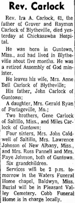 Rev Ira A Carlock