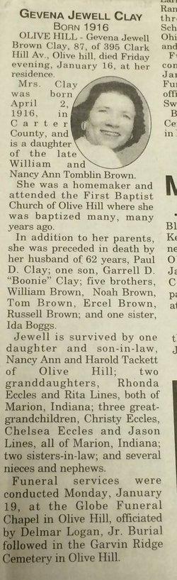 Geneva Jewell <i>Brown</i> Clay