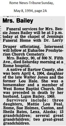 Bessie M. <i>Jones</i> Bailey