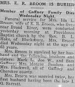 Ida L. <i>Gaffney Sarratt</i> Broom