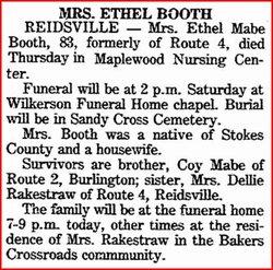 Ethel <i>Mabe</i> Booth
