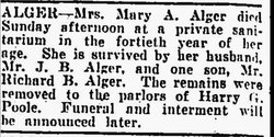 Mary A. <i>Bunnemeyer</i> Alger
