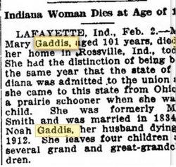 Mary A. <i>Smith</i> Gaddis