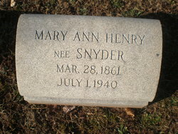 Mary Ann <i>Snyder</i> Henry