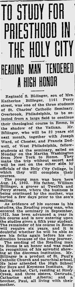 Rev Reginald S. Billinger