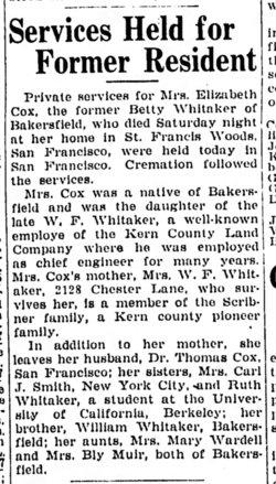 Mary Elizabeth <i>Whitaker</i> Cox