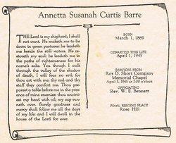 Annetta Susanah <i>Curtis</i> Barre