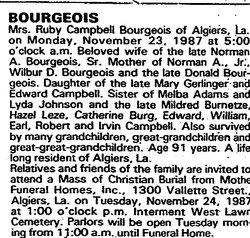 Ruby <i>Campbell</i> Bourgeois