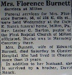 Florence <i>Ranck</i> Burnett