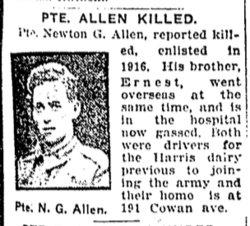 Pvt Newton Gordon Allen