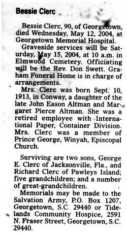 Bessie <i>Altman</i> Clerc